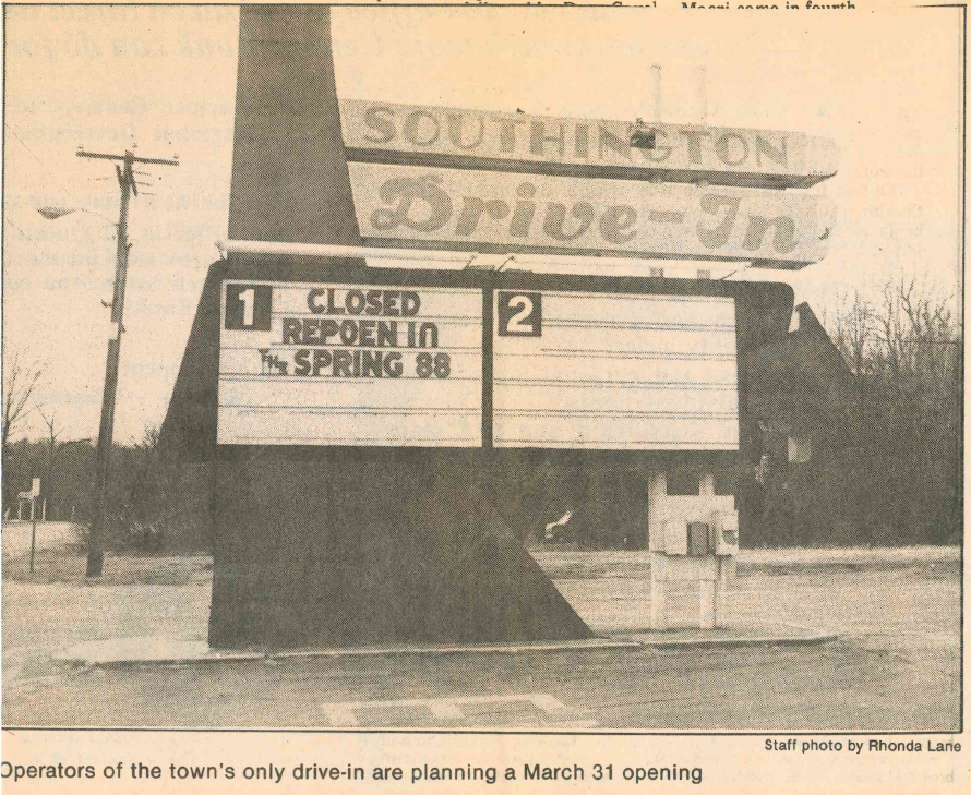 The Southington Drive-In sign in the 1980s. | Record-Journal archives
