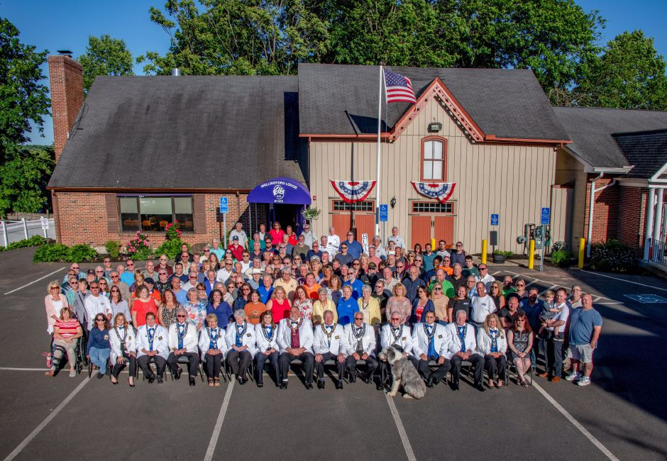 About 125 members of Wallingford Elks Lodge #1365 gathered 100 years to the day after the lodge's opening to take a commemorative photograph at their South Main Street hall, Tuesday, June 11, 2019. | Courtesy of Steve Perlmutter