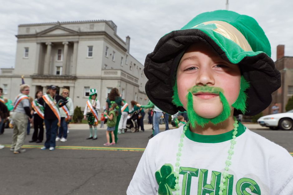 Robert Nadwairski, 7, of Meriden shows his St. Patrick