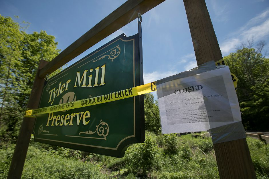 Tyler Mill Preserve in Wallingford is closed, Monday, May 21, 2018. Officials say local and state parks could remain closed for weeks following last week's microburst. Dave Zajac, Record-Journal