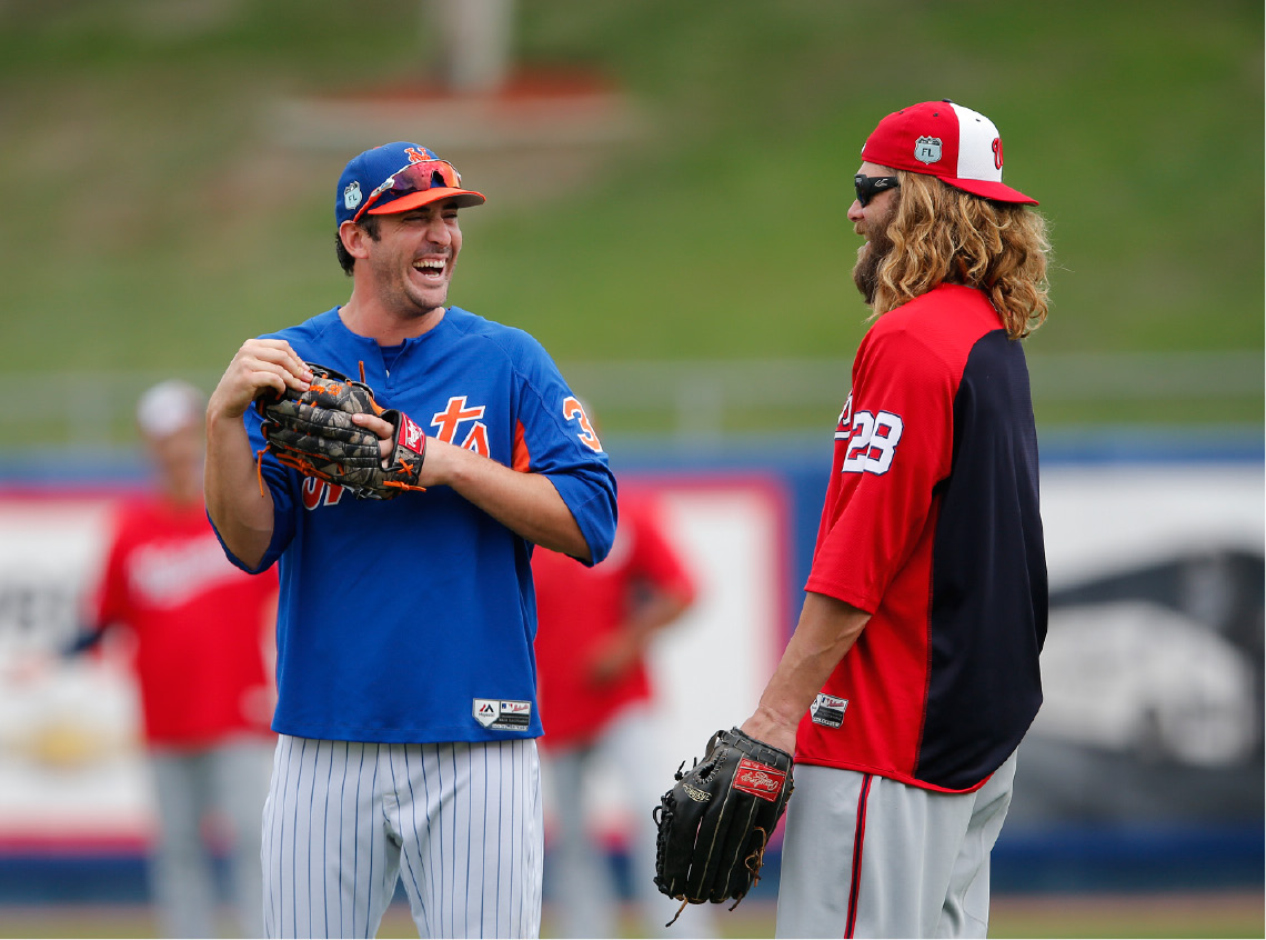 New York Mets starting pitcher Matt Harvey, left, jokes with Washington Nationals left fielder Jayson Werth (28) before a spring training baseball game Monday, March 27, 2017, in Port St. Lucie, Fla. (AP Photo/John Bazemore)