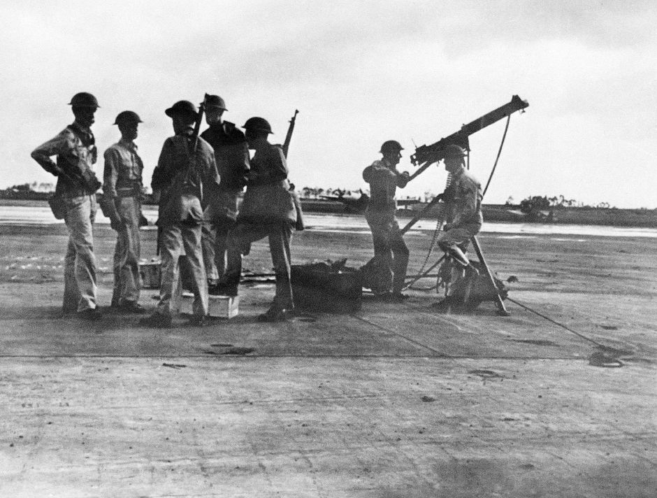 Anti-aircraft gunners of the United States Army who fired on the Japanese planes during the surprise attack on Pearl Harbor on Dec. 7, 1941, in Wheeler Field, Hawaii. (AP Photo)