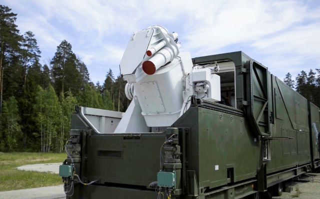 In this video grab provided by RU-RTR Russian television via AP television on Thursday, March 1, 2018, a Russian military truck with a laser weapon mounted on it is shown at an undisclosed location in Russia. President Vladimir Putin declared Thursday that Russia has developed a range of new nuclear weapons, claiming they can