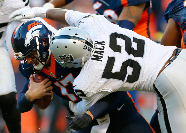 FILE - In this Dec. 13, 2015,  file photo, then-Denver Broncos quarterback Brock Osweiler (17) is sacked by Oakland Raiders defensive end Khalil Mack (52) during the second half of an NFL football game in Denver. The Raiders (10-2) take on the Kansas City Chiefs (9-3) Thursday night, Dec. 8, 2016,  in Kansas City, Mo. (AP Photo/Joe Mahoney, File)