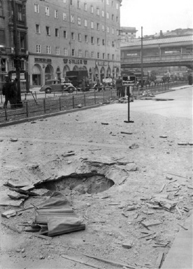 A bomb crater in a Berlin street after the Royal Air Force had raided the residential section of the German capital on August 29, 1940. (AP Photo)