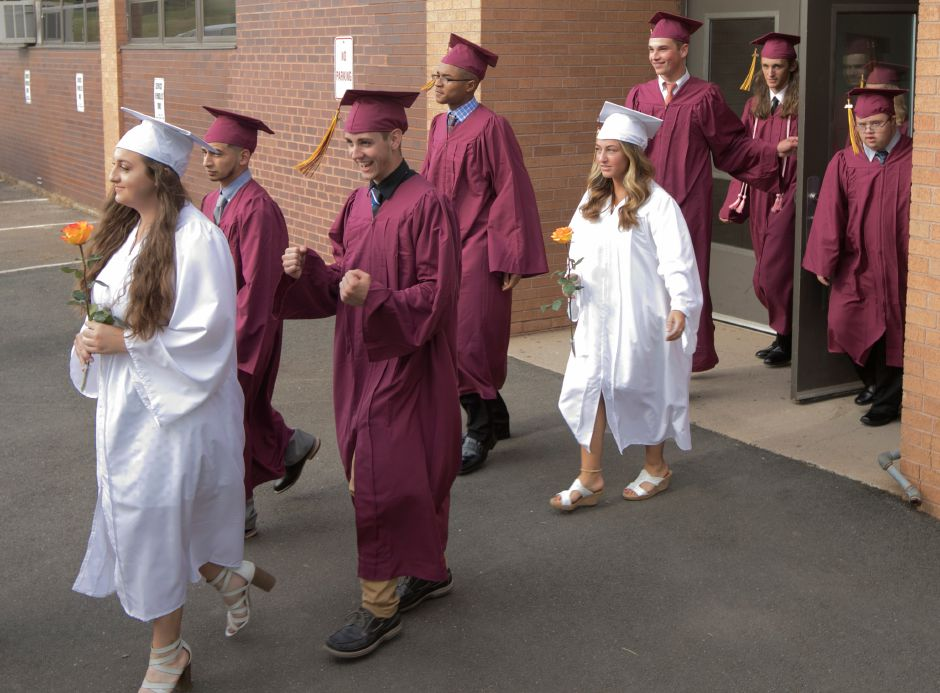 Graduates begin the academic procession into graduation ceremonies at Sheehan High School, Friday, June 22, 2018. Dave Zajac, Record-Journal