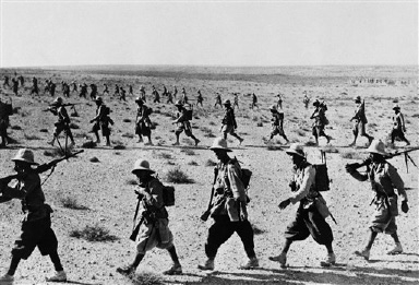 Advance of Italian troops beyond the Egyptian frontier on Sept. 21, 1940 in Egypt. (AP Photo)