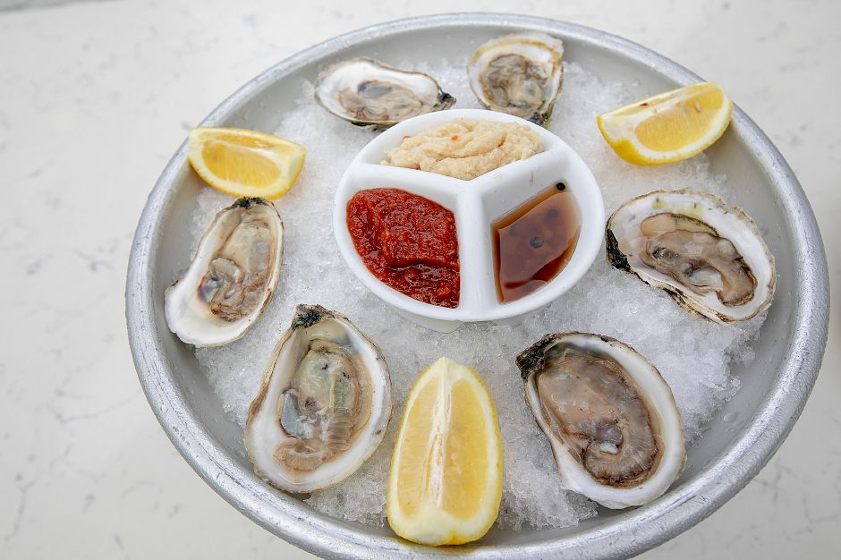 Blue Point oysters on the menu at Cava Restaurant.