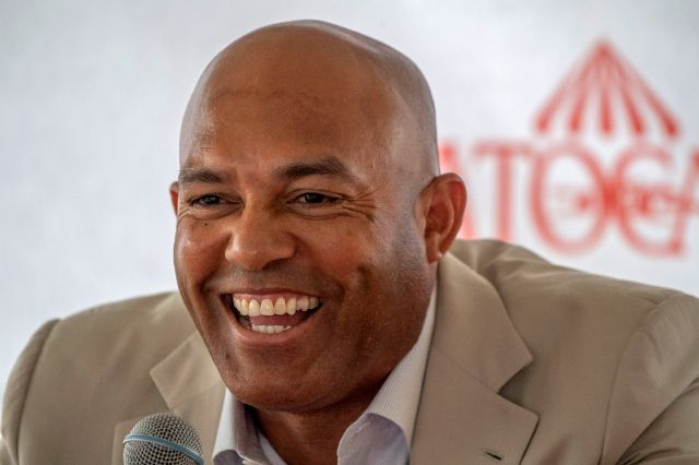 Mariano Rivera speaks to the media during a visit to Saratoga Race Course on Friday, July 12, 2019, in Saratoga Springs, N.Y. The day