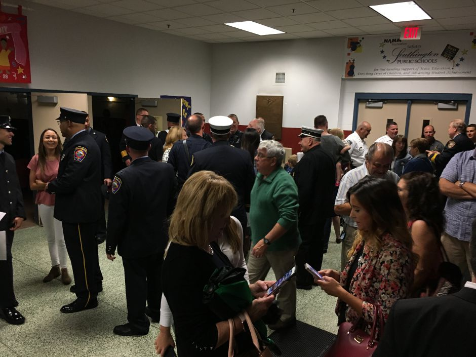 The crowd gathers at the Southington Fire Department's annual awards ceremony at Derynoski Elementary School on Oct. 11, 2017. | Lauren Takores, Record-Journal