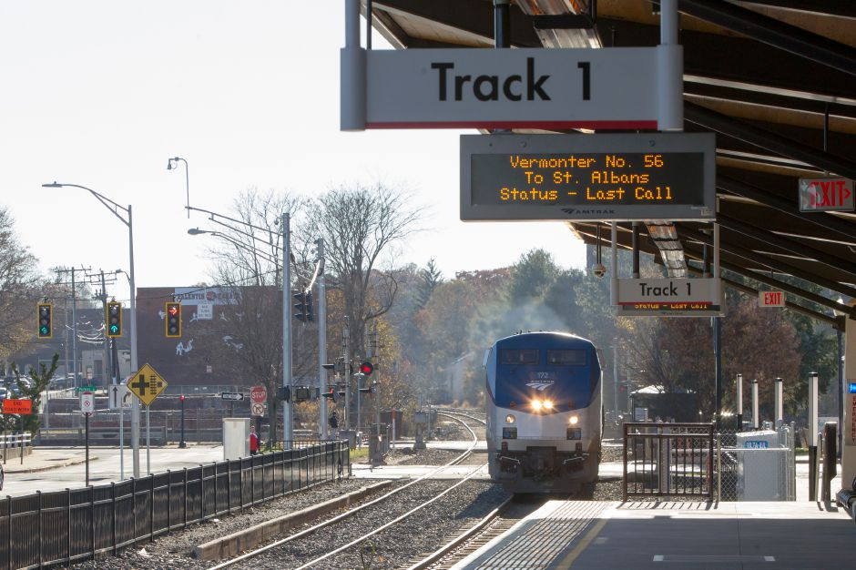 Amtracks Vermonter arrives at the station Friday at the Meriden Train Station in Meriden November 24, 2017 | Justin Weekes / For the Record-Journal