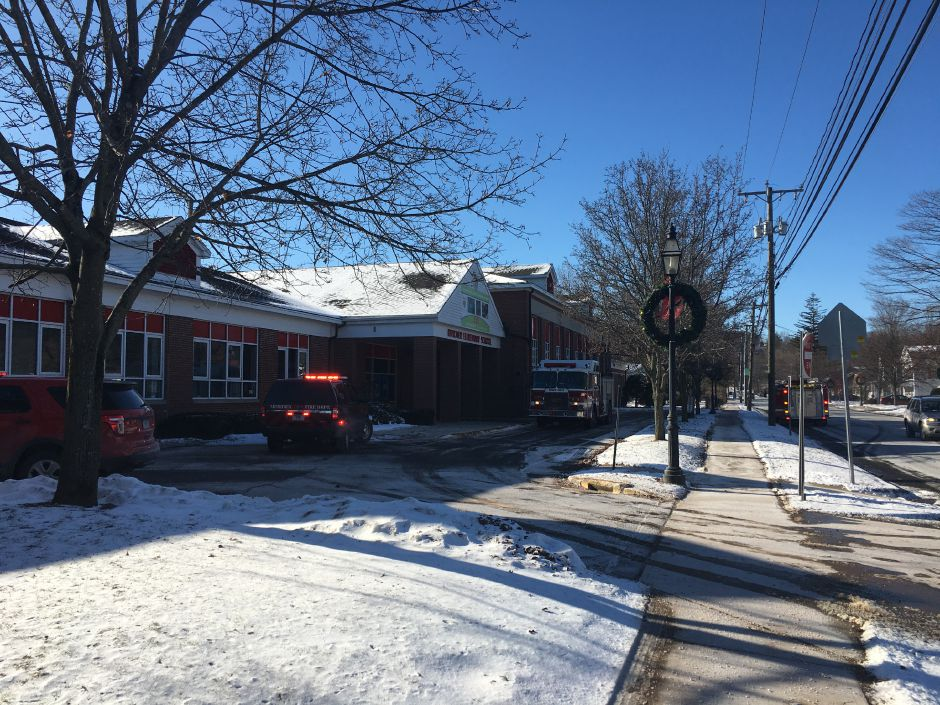 Ceiling sprinkler pipes burst at two Meriden elementary schools–Hanover, pictured, and John Barry–on Monday, Jan. 1, 2018. | Lauren Takores, Record-Journal
