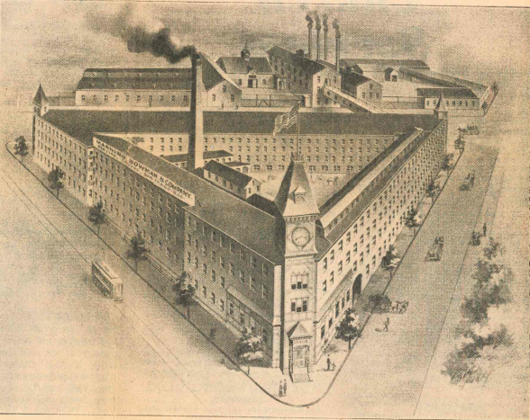 Rendering of the triangle factory of Manning, Bowman & Co. at Pratt, Miller and Catlin streets, circa 1900. Record-Journal archives