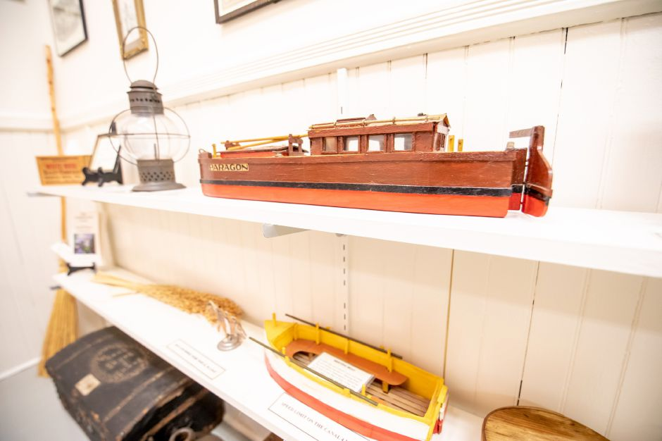A replica of the boats which were once pulled by mules along the Farmington Canal sits in the Plainville Historical Center. Tours of the center can be taken as it celebrates its 50th anniversary. | Devin Leith-Yessian/Plainville Citizen