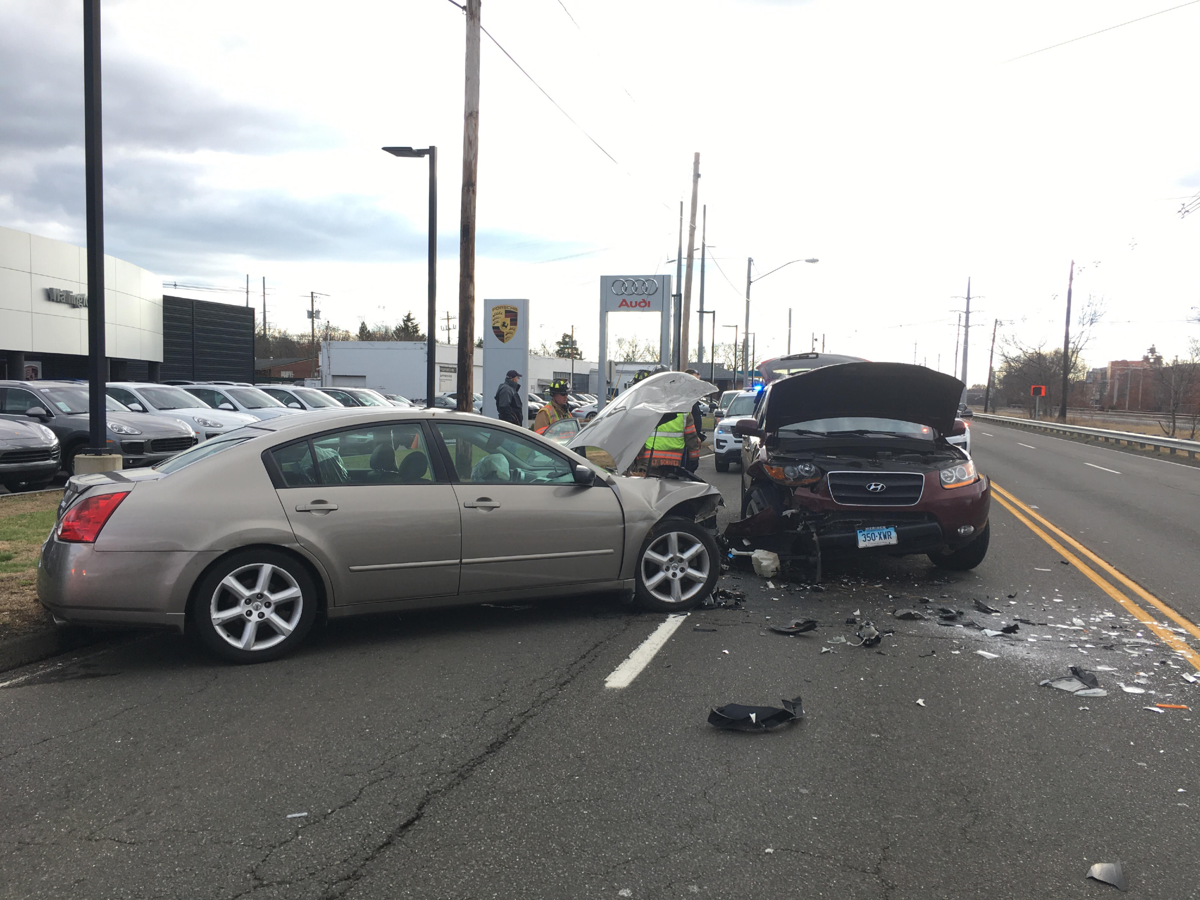 Two cars collided on South Colony Road in Wallingford Thursday afternoon. | Lauren Takores, Record-Journal