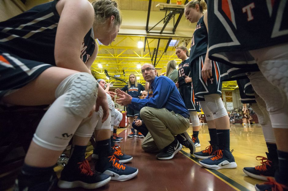 Lyman Hall basketball coach Tom Lipka and his Lady Trojans travel to New Haven to face Wilbur Cross in the opening round of the SCC Tournament on Thursday. | Justin Weekes / Special to the Record-Journal