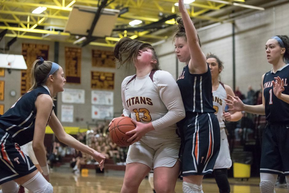 Caitlyn Hunt scored the go-ahead baskets in the Sheehan girls' 58-53 victory over Lyman Hall in the opening game of Monday's Wallingford basketball doubleheader at Sheehan. | Justin Weekes / Special to the Record-Journal