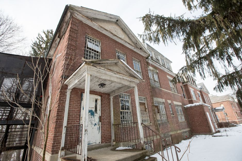 Building 11 of the former Meriden School for Boys, now a part of the State Police facility, has been marked to be demolished Friday at 278 Colony Street in Meriden, March 8, 2019 | Justin Weekes / Special to the Record-Journal