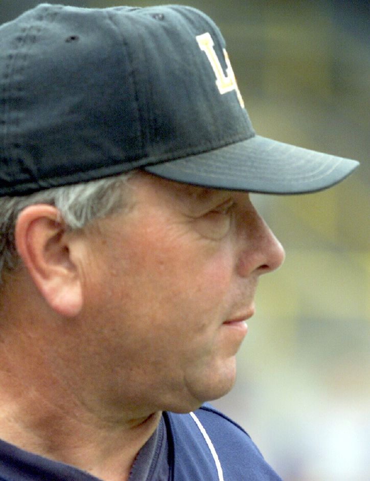 Lyman Hall baseball coach Chuck Burghardt watches as his team plays the Class L Stae Semifinal game against Seymour on June 4, 2002 at Muzzy Field in Bristol.