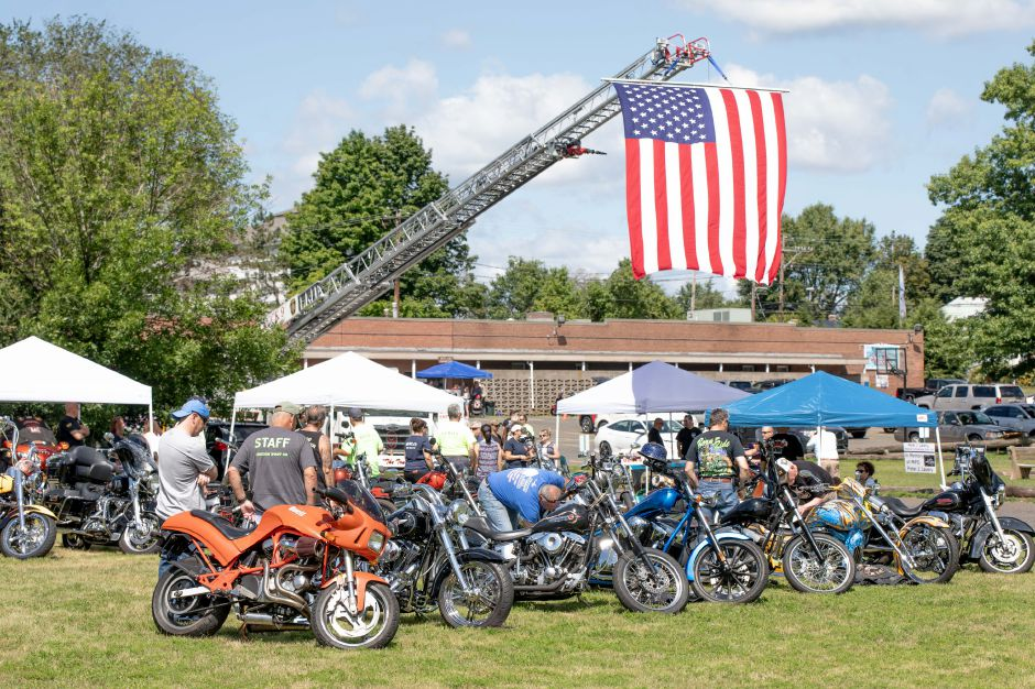 Dozens of bikes visited Berlin American Legion Post 68 during a motorcycle show held in conjunction with the Berlin Volunteer Fire Department on Aug. 11. The show raised money for both to distribute to veterans. Photos by Devin Leith-Yessian, The Citizen