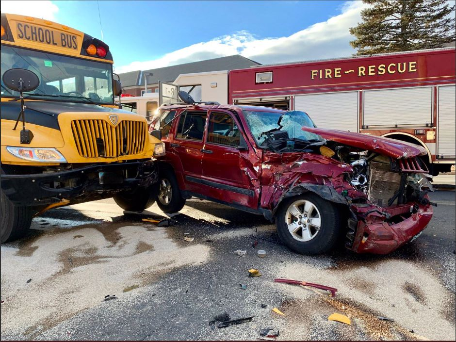 A school bus and SUV collided near Main Street and Meriden Avenue Wednesday afternoon, Jan. 16, 2019./Photo courtesy of Southington Fire Department.