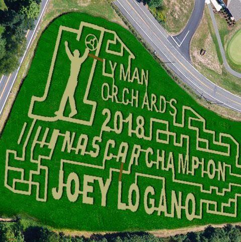 A tribute to 2018 NASCAR Champion Joey Logano was the inspiration for the 20th annual corn maze at Lyman Orchards. Photo courtesy of Lyman Orchards