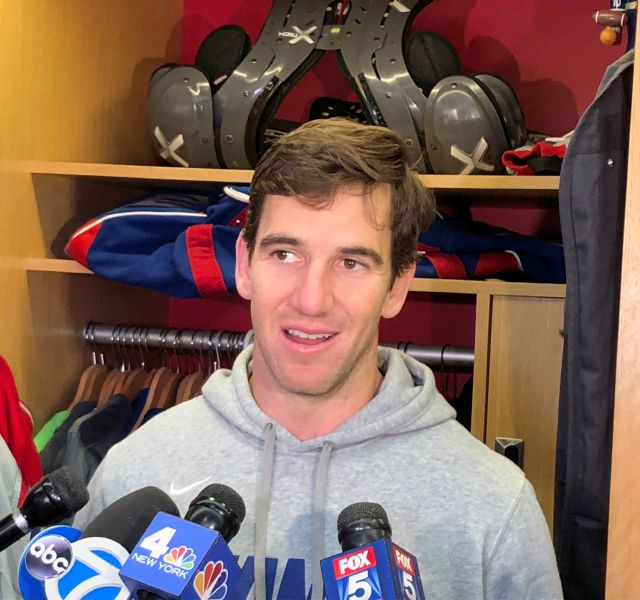 New York Giants quarterback Eli Manning talks to reporters in East Rutherford, N.J., Wednesday, Dec. 12, 2018. The Giants play the Tennessee Titans on Sunday at MetLife Stadium. (AP Photo/Tom Canavan)