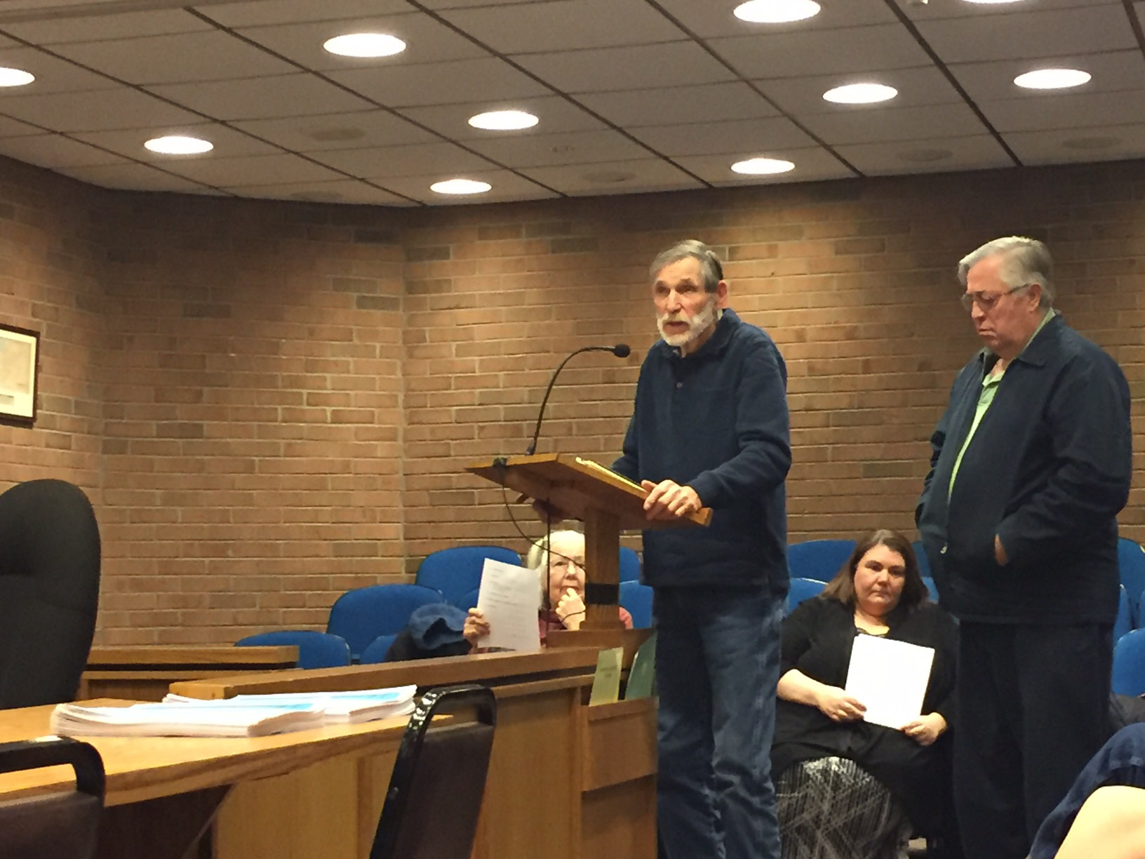 Resident Bob Doolittle speaks at a Town Council meeting about the Gold Star Memorial. |Ashley Kus, The Plainville Citizen