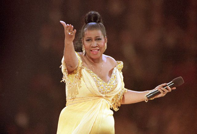 FILE - In this Jan. 19, 1993 file photo, singer Aretha Franklin performs at the inaugural gala for President Bill Clinton in Washington. Franklin died Thursday, Aug. 16, 2018 at her home in Detroit.  She was 76. (AP Photo/Amy Sancetta, File)