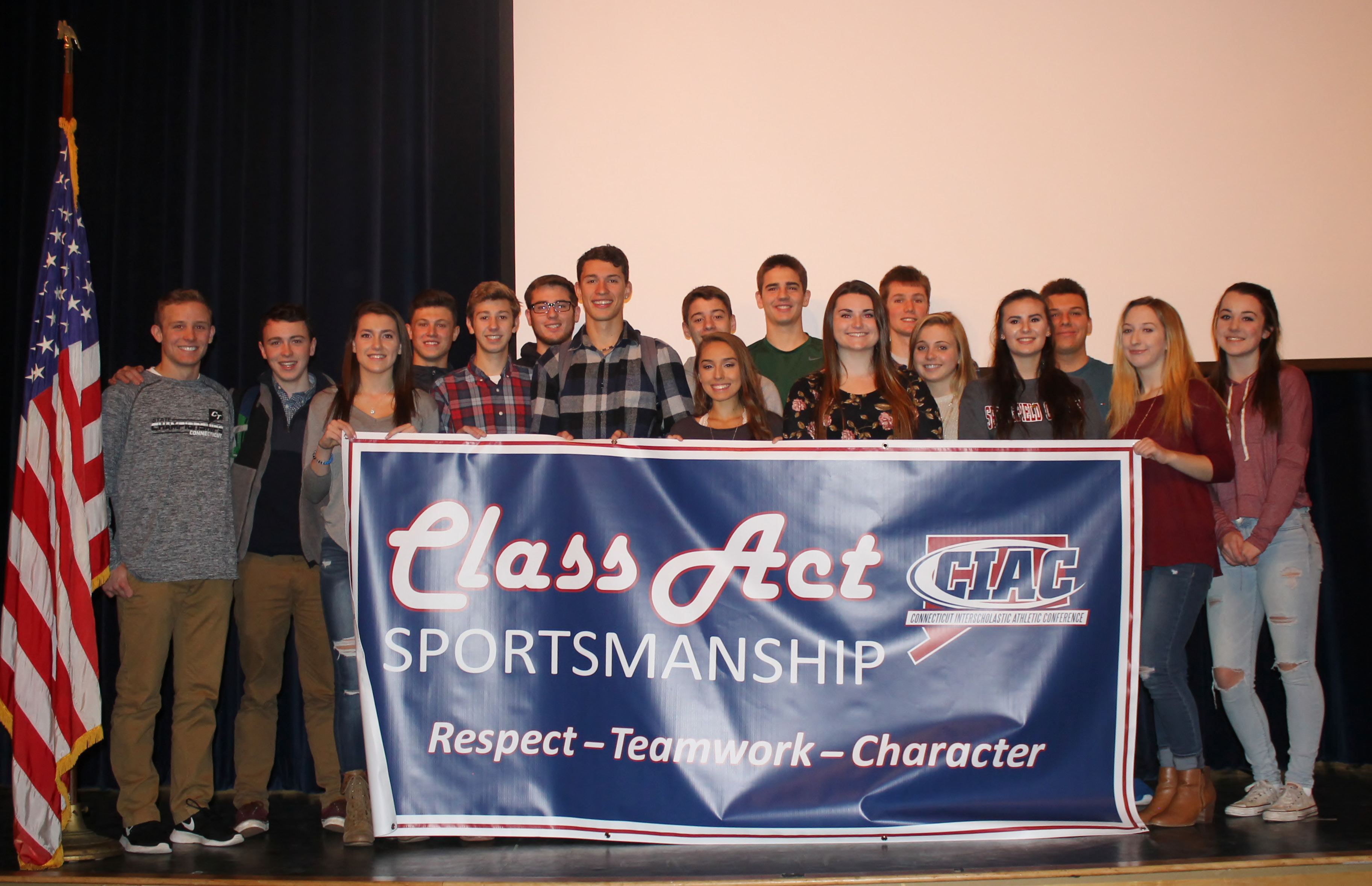 A group of CRHS athletes from the Captains Council presented guidelines from the CIAC