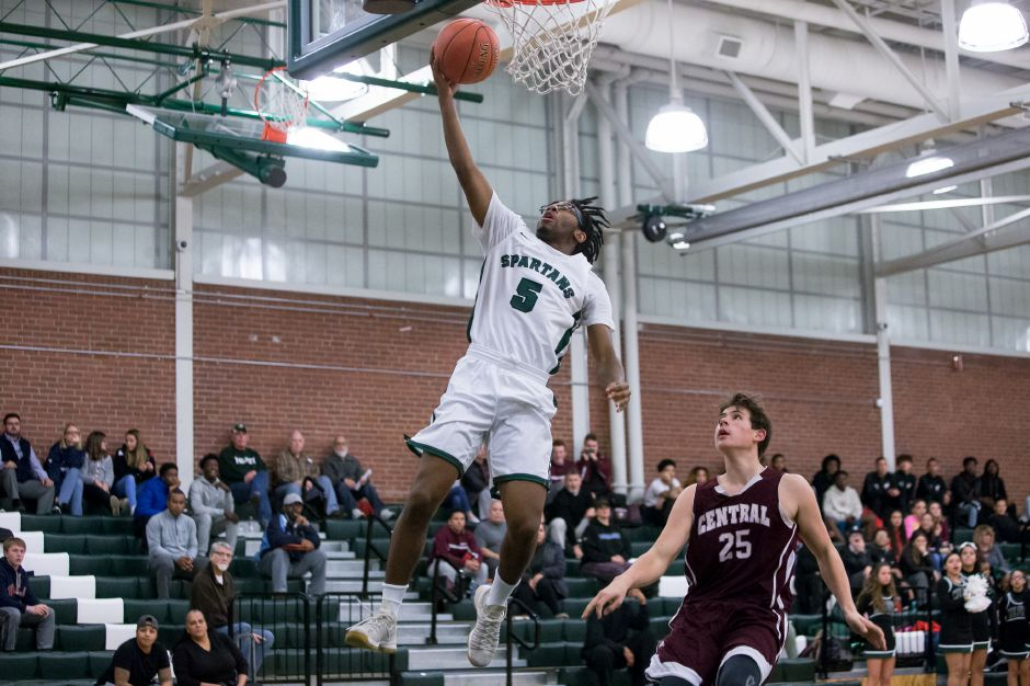 Divine Ransom had 15 points in Maloney's 66-51 win Wednesday night over Lyman Hall in Meriden. | Justin Weekes / Special to the Record-Journal