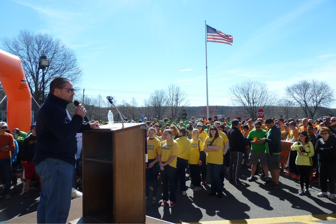Joe Aguiar of Wethersfield addresses the crowd at Cheshire High School during Sunday