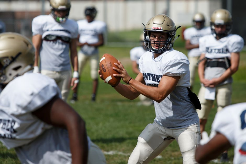 Platt senior Lorenzo Sanson takes over at quarterback for two-year starter A.J. Marinelli, who is now at Western Connecticut. | Justin Weekes / Special to the Record-Journal