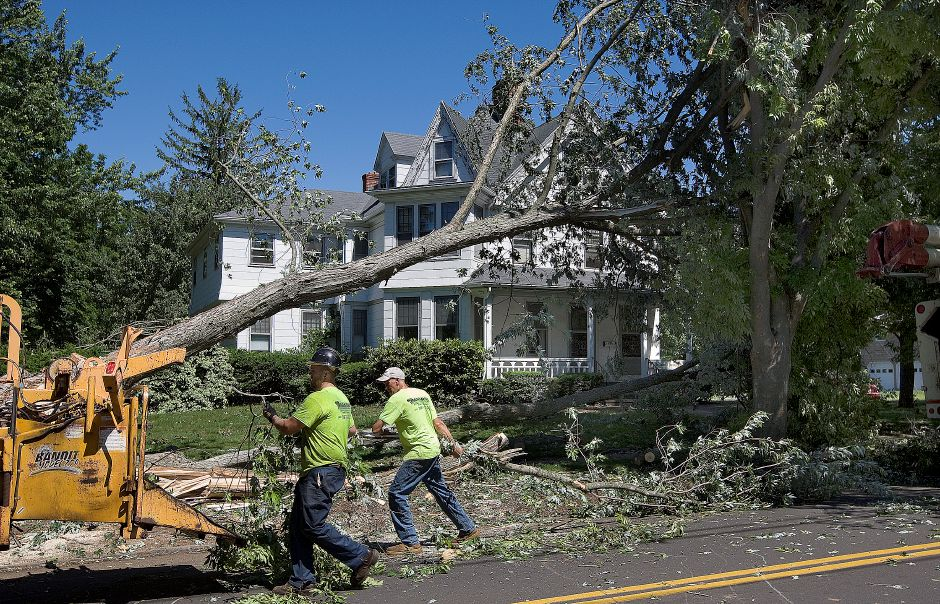 Taylor Kroeber, left, and Richie Urbanowicz, Jr., of New Haven based Paradise landscaping & tree removal, work to clear a large tree from the front yard of 353 S. Main St. in Wallingford, Wednesday, June 24, 2015. | Dave Zajac / Record-Journal