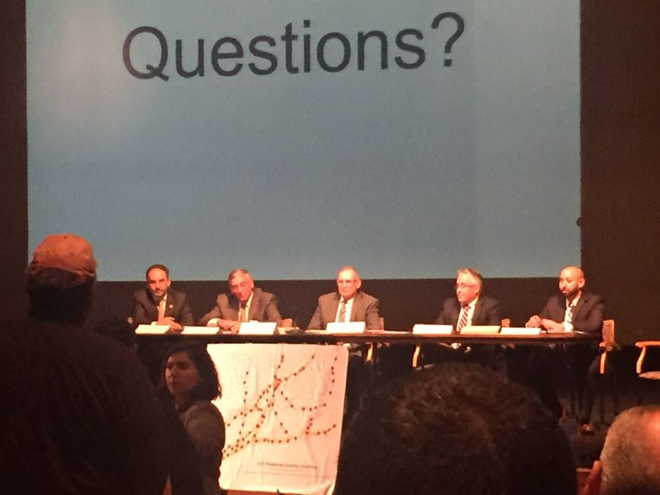 From left, Rep. David Yaccarino, Sen. Len Fasano, Sen. Henri Martin, Rep. Vincent Candelora and Rep. Joe Zullo answer questions from the public Monday night during a forum on tolls at North Haven High School School. | Bailey Wright, The Citizen