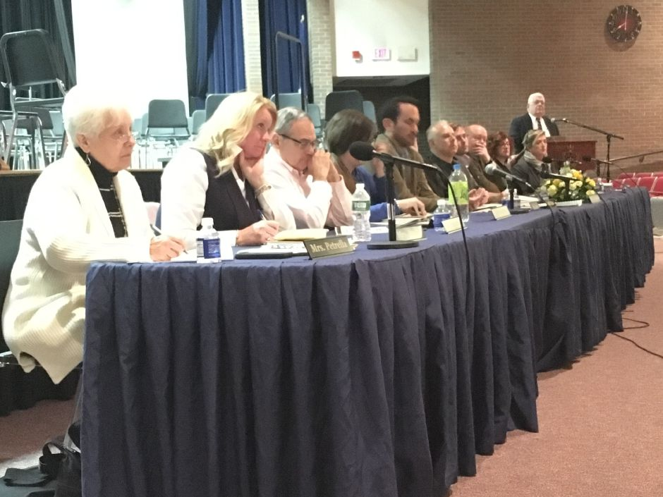 The Regional School District 13 Board of Education and district administrators presented the proposed budget to the public at a hearing on Wednesday, April 11, 2018. | Lauren Takores, Record-Journal