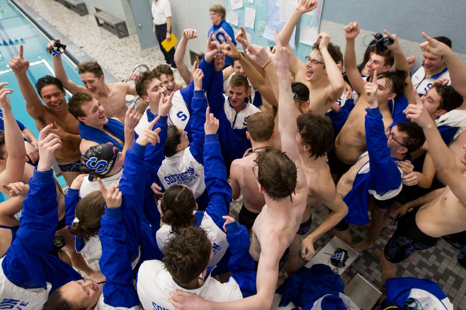 Southington swimming gets set to take on Hall Wednesday at the Southington YMCA in Southington January 23, 2019 | Justin Weekes / Special to the Record-Journal