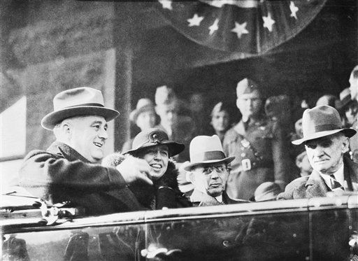 President Franklin D. Roosevelt and members of his party are shown in their car as they proceeded towards the Hermitage, home of President Andrew Jackson, during the president