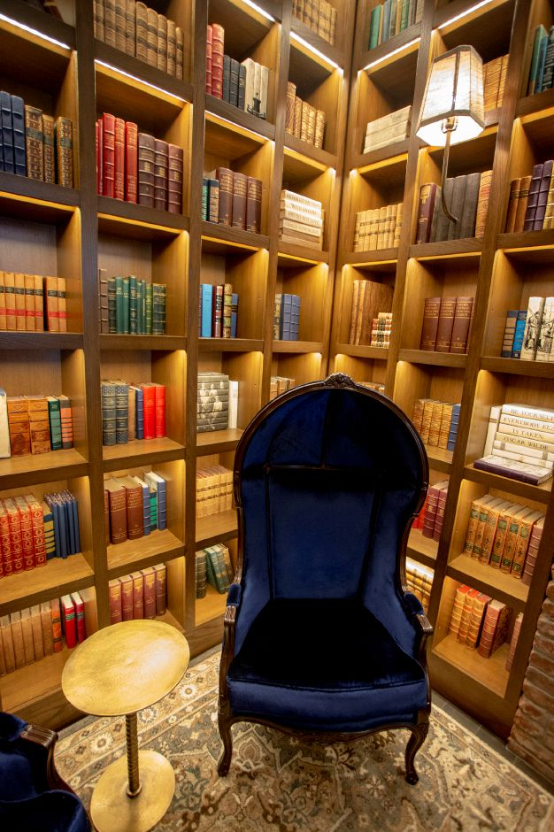 Shelves and shelves of real books in the MGM Springfield entrance harken to the city