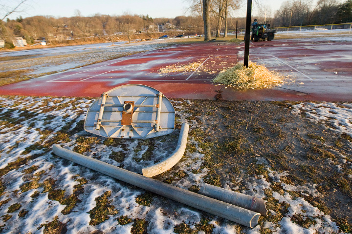 Old metal backboards and poles taken down at Habershon Park in South Meriden, Thursday, December 22, 2016. New polycarbonate backboards and hoops will be installed next week at Habershon and also Johnson Hill Park.    | Dave Zajac, Record-Journal