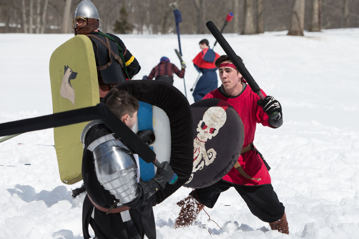 Alex Olsen Foxboro in red line up a shot on Andrew Nedley of Bethal Saturday during a Dagorhir Medieval battle at Hubbard Park in Meriden. Chapters from New England participated in live battle.  Mar. 18, 2017 | Justin Weekes / For the Record-Journal