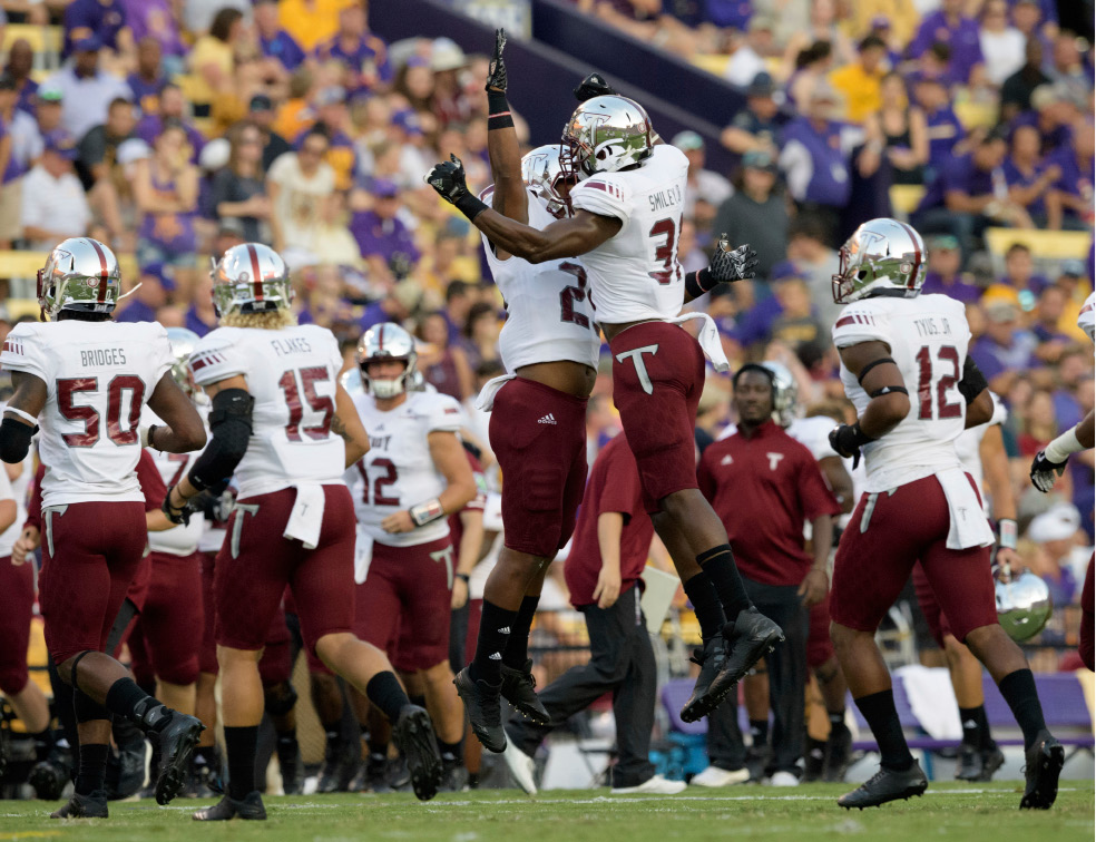 Troy linebacker A.J. Smiley (31) celebrates a defensive play on fourth down  making LSU b409c7d18