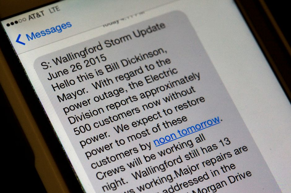 A text message from Mayor William W. Dickinson Jr. updating Wallingford residents on recovery efforts from the microburst last week. Three messages were sent by an emergency alert system that is sponsored by the state, according to Wallingford Police Chief William Wright. | Photo Illustration Dave Zajac / Record-Journal