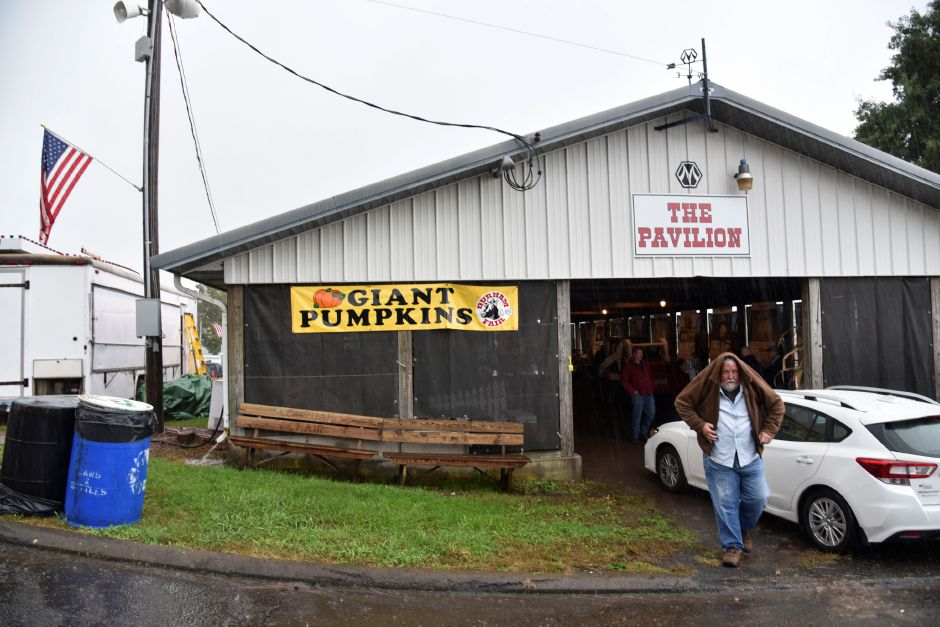 Heavy rain detered some growers from being able to deliever their giant pumpkins to the Durham Fair this year on Tuesday, Sept. 25, 2018. The pumpkins that did make it will be available for viewing all weekend during the fair. | Bailey Wright, Record-Journal