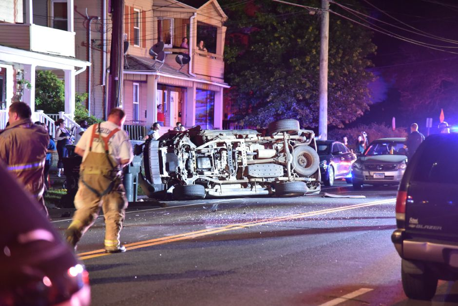 Two injured after crash, rollover on Cook Avenue in Meriden
