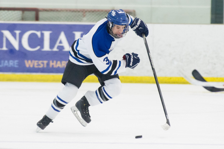 Senior captain Jeremy Fortin scored the game-winning goal in overtime to lift the Hall-Southington hockey team to a 4-3 victory over the Newington Co-op in the first round of the CIAC Division IIII Tournament at West Hartford
