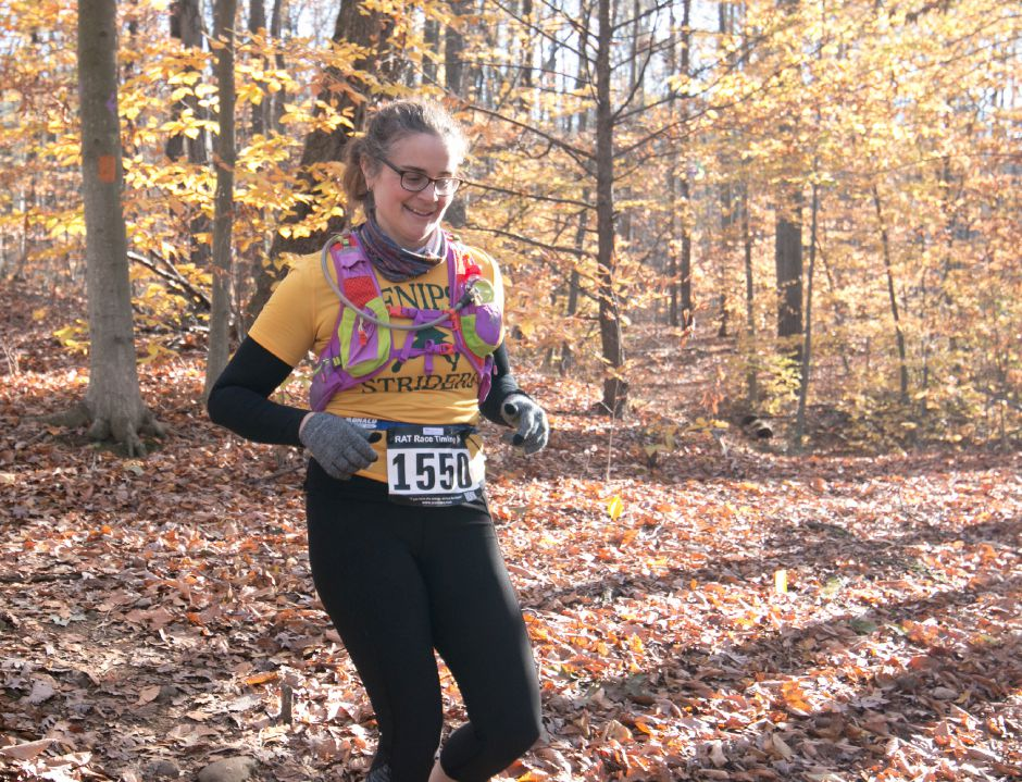 Emma Palmacci runs through the trails around the Southington YMCA