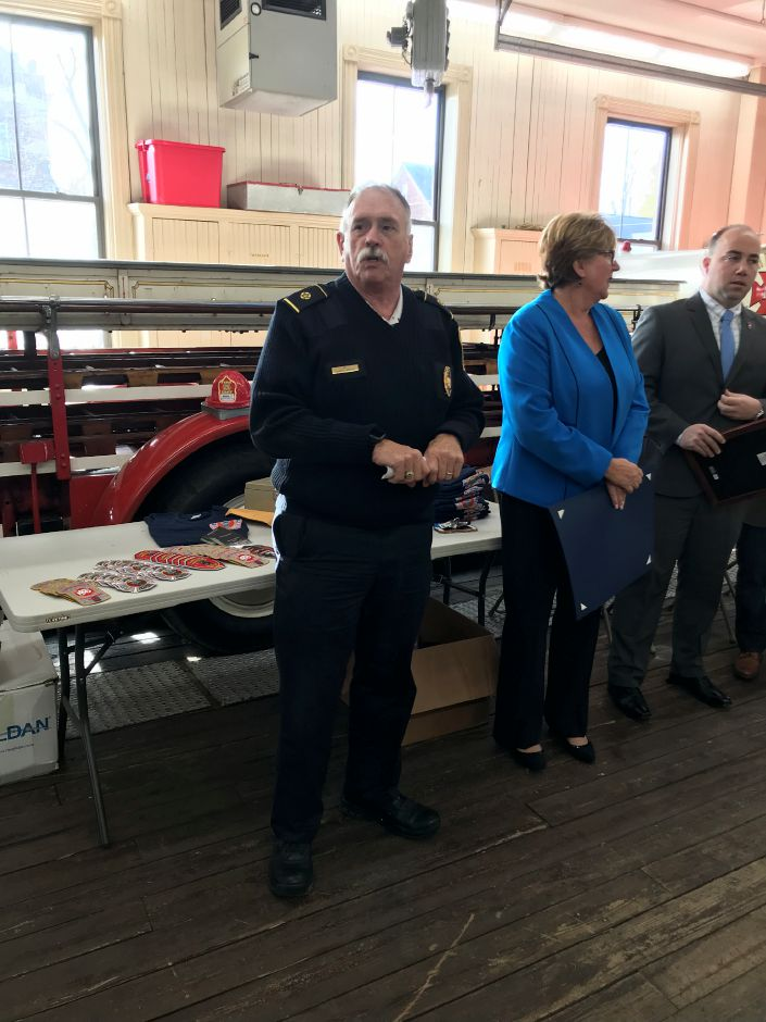 Fire Chief Kenneth Morgan speaks during an event marking the 150th anniversary of the Meriden Fire Department Saturday afternoon. | Steven Scarpa, special to the Record-Journal.