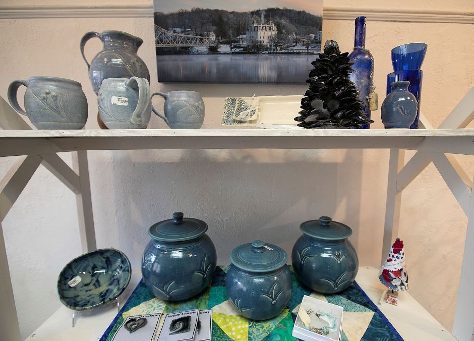 Pottery for sale at Gallery 53 for its annual Holiday Fair, Monday, Nov. 20, 2017. Gift items also include jewelry, scarves, ornaments, quilts, paintings and pet gifts. The fair runs Nov. 24- Dec. 24. | Dave Zajac, Record-Journal DAVE ZAJAC