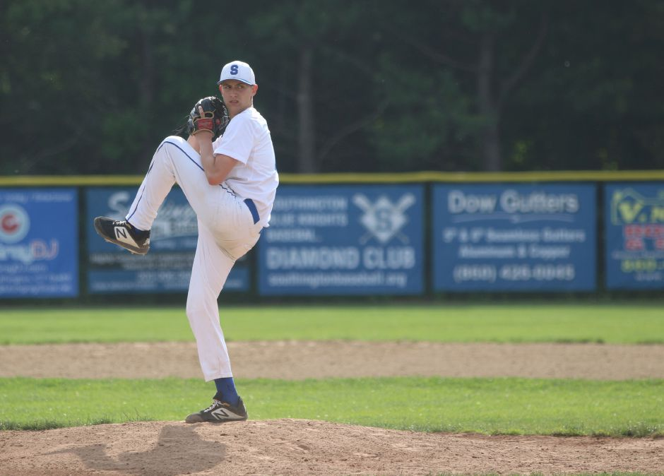 Southington's Ryan Henderson threw a one-hit shutout against Darien on Friday.  Photos by Spencer Davis, Record Journal